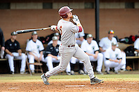 Shortstop Kyle Edwards (6) of the Winthrop University Eagles bats in a game against the University of South Carolina Upstate Spartans on Wednesday, March 4, 2015, at Cleveland S. Harley Park in Spartanburg, South Carolina. Upstate won, 12-3. (Tom Priddy/Four Seam Images)