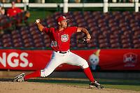 Daniel Tillman #28 of the Inland Empire 66ers pitches against the Visalia Rawhide at San Manuel Stadium on August 11, 2013 in San Bernardino, California. Visalia defeated Inland Empire, 11-1. (Larry Goren/Four Seam Images)