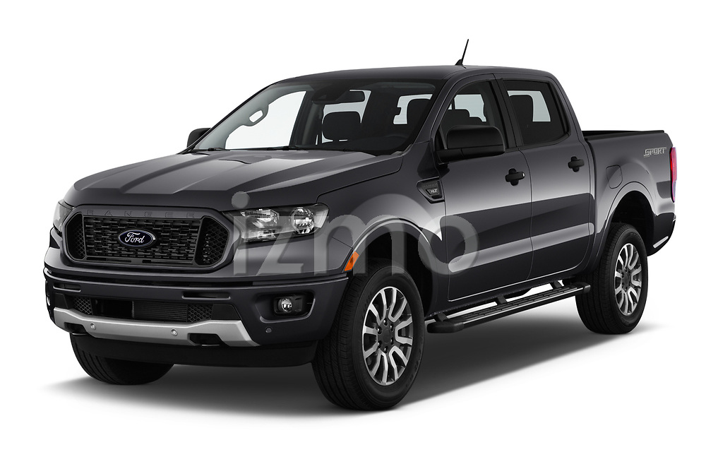 2019 Ford Ranger XLT 4 Door Pick-up Angular Front stock photos of front three quarter view
