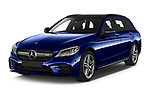 2020 Mercedes Benz C Class Break 43 AMG 5 Door Wagon angular front stock photos of front three quarter view