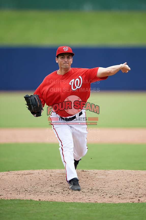 GCL Nationals relief warmup pitcher Sean Adler (53) delivers a warmup pitch during the second game of a doubleheader against the GCL Mets on July 22, 2017 at The Ballpark of the Palm Beaches in Palm Beach, Florida.  GCL Mets defeated the GCL Nationals 4-1.  (Mike Janes/Four Seam Images)