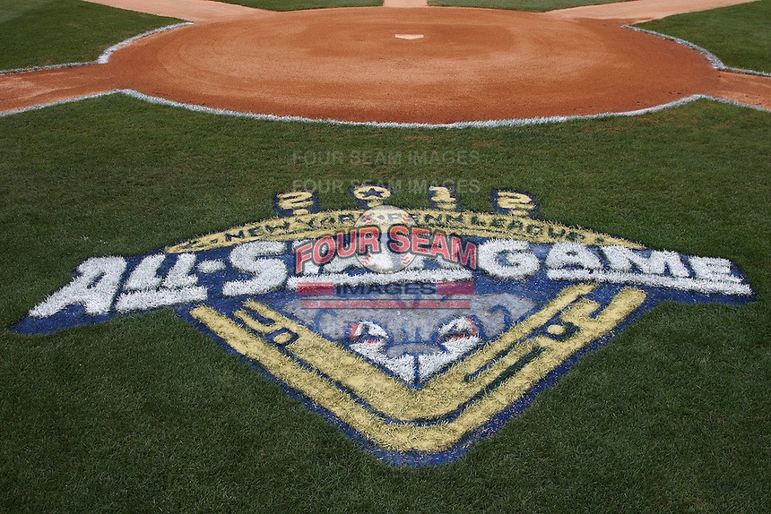 NY-Penn League All-Star Game logo painted on the field at Eastwood Field on August 14, 2012 in Niles, Ohio.  National League defeated the American League 8-1.  (Mike Janes/Four Seam Images)