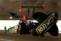 Apr 8, 2006; Las Vegas, NV, USA; NHRA Top Alcohol dragster driver Ashley Force, driver the Castrol GTX dragster slows to a stop after qualifying for the Summitracing.com Nationals at Las Vegas Motor Speedway in Las Vegas, NV. Mandatory Credit: Mark J. Rebilas