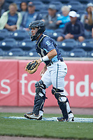 West Michigan Whitecaps catcher Brady Policelli (6) on defense against the South Bend Cubs at Fifth Third Ballpark on June 10, 2018 in Comstock Park, Michigan. The Cubs defeated the Whitecaps 5-4.  (Brian Westerholt/Four Seam Images)