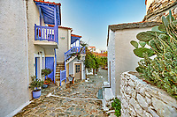 Picturesque alley in the old Chora of Alonissos island, Greece