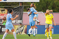 Yael Averbuch (13) of Sky Blue FC celebrates scoring with Natasha Kai (6). Sky Blue FC defeated the Philadelphia Independence 1-0 during a Women's Professional Soccer (WPS) match at Yurcak Field in Piscataway, NJ, on August 22, 2010.