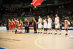Real Madrid´s Felipe Reyes, Kevin Rivers, Rudy Fernandez, Gustavo Ayon and Sergio Llull and Galatasaray´s Micov, Erceg, Maric Arroyo and Guler during 2014-15 Euroleague Basketball match between Real Madrid and Galatasaray at Palacio de los Deportes stadium in Madrid, Spain. January 08, 2015. (ALTERPHOTOS/Luis Fernandez)