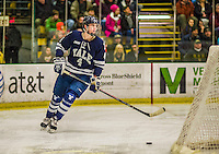4 January 2014:  Yale University Bulldog defenseman Rob O'Gara, a Sophomore from Nesconset, NY, in second period action against the University of Vermont Catamounts at Gutterson Fieldhouse in Burlington, Vermont. With an empty net and seconds remaining, the Cats came back to tie the game 3-3 against the 10th seeded Bulldogs. Mandatory Credit: Ed Wolfstein Photo *** RAW (NEF) Image File Available ***