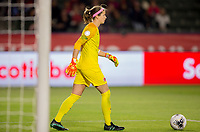 CARSON, CA - FEBRUARY 07: GK Stephanie Labbe #1 of Canada moves with the ball during a game between Canada and Costa Rica at Dignity Health Sports Complex on February 07, 2020 in Carson, California.