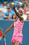 Venus Williams of the US loses in the semifinals at the Western & Southern Open in Mason, OH on August 18, 2012.