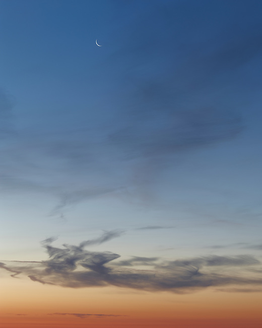 The moon at sunrise on Clingmans Dome (6,643 feet) in the Great Smoky Mountains National Park in Tennessee.