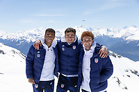 CRANS-MONTANA, SWITZERLAND - MAY 28: Tyler Adams, Gio Reyna, Josh Sargent of the United States at Pointe de la Plaine Morte on May 28, 2021 in Crans-Montana, Switzerland.