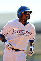 Buffalo Bisons outfielder Jordany Valdespin #1 rounds the bases after hitting a home run during a game against the Lehigh Valley IronPigs at Coca-Cola Field on April 19, 2012 in Buffalo, New York.  Lehigh Valley defeated Buffalo 8-4.  (Mike Janes/Four Seam Images)