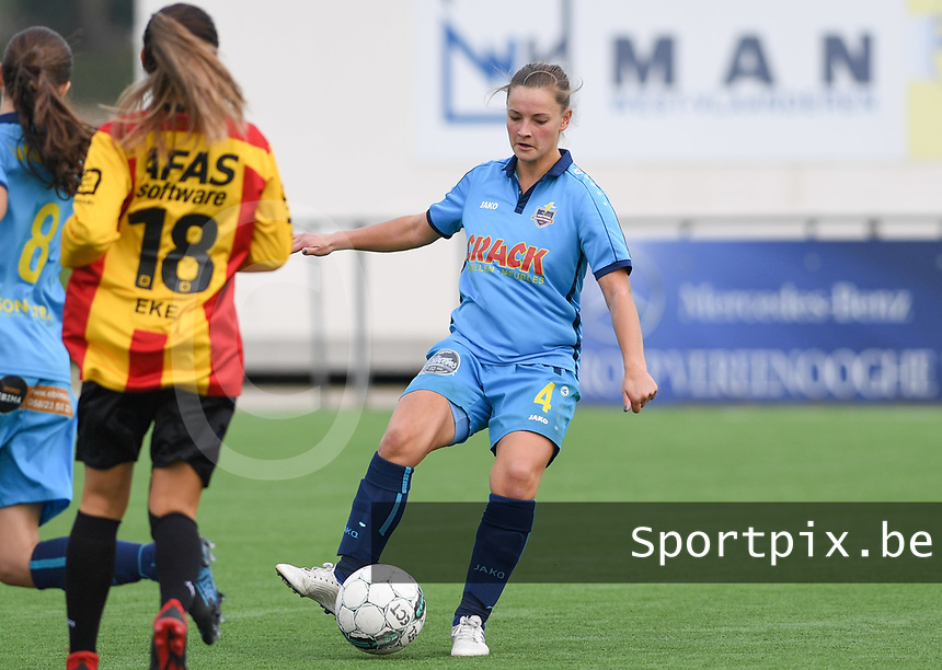 20191005  -  Diksmuide , BELGIUM : FWDM's Delphine Lins pictured during a footballgame between the womensoccer teams from Famkes Westhoek Diksmuide Merkem and KV Mechelen Ladies A , on the 5th matchday in the first division , 1e nationale , in Diksmuide - Belgium - saturday 5th october 2019 . PHOTO DAVID CATRY | Sportpix.be