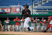Batavia Muckdogs Dalvy Rosario (17) bats during a NY-Penn League game against the Auburn Doubledays on June 19, 2019 at Dwyer Stadium in Batavia, New York.  Batavia defeated Auburn 5-4 in eleven innings in the completion of a game originally started on June 15th that was postponed due to inclement weather.  (Mike Janes/Four Seam Images)