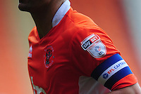 Blackpool's Danny Pugh wears the captains armband<br /> <br /> Photographer Kevin Barnes/CameraSport<br /> <br /> Football - The EFL Sky Bet League Two - Blackpool v Exeter City - Saturday 6th August 2016 - Bloomfield Road - Blackpool<br /> <br /> World Copyright © 2016 CameraSport. All rights reserved. 43 Linden Ave. Countesthorpe. Leicester. England. LE8 5PG - Tel: +44 (0) 116 277 4147 - admin@camerasport.com - www.camerasport.com