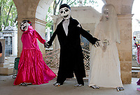 Oaxaca, Mexico, North America.  Day of the Dead Celebrations.  Large-than-life Figures Welcome Visitors to the Cemetery of San Miguel.