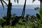 Vuna Reef, Vuna Village, Taveuni, Fiji; an elevated view looking out over Vuna Reef, clearly visible on the water's surface