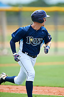 GCL Rays right fielder Jake Stone (8) runs to first base during the first game of a doubleheader against the GCL Twins on July 18, 2017 at Charlotte Sports Park in Port Charlotte, Florida.  GCL Twins defeated the GCL Rays 11-5 in a continuation of a game that was suspended on July 17th at CenturyLink Sports Complex in Fort Myers, Florida due to inclement weather.  (Mike Janes/Four Seam Images)