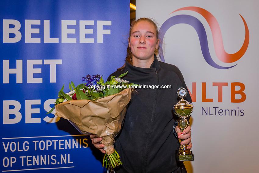 Wateringen, The Netherlands, December 8,  2019, De Rhijenhof , NOJK juniors 14 and18 years, Finals 18 years: Runner up girls 18 years Anouk Koevermans (NED)<br /> Photo: www.tennisimages.com/Henk Koster