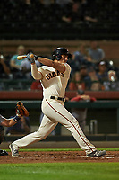 Scottsdale Scorpions designated hitter Chris Shaw (45), of the San Francisco Giants organization, follows through on his swing during an Arizona Fall League game against the Peoria Javelinas on October 20, 2017 at Scottsdale Stadium in Scottsdale, Arizona. the Javelinas defeated the Scorpions 2-0. (Zachary Lucy/Four Seam Images)
