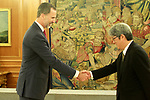 King Felipe VI of Spain with the President of Japanese employer Nippon Keidanren Yoshio Sato. July 6, 2017. (ALTERPHOTOS/Acero)