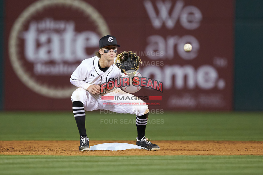 L.T. Tolbert (11) of the South Carolina Gamecocks on defense against the North Carolina Tar Heels at BB&T BallPark on April 3, 2018 in Charlotte, North Carolina. The Tar Heels defeated the Gamecocks 11-3. (Brian Westerholt/Four Seam Images)