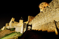 The exterior of the Carcassone Castle walls at night. Carcassone, France.