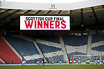 St Johnstone v Hibs…22.05.21  Scottish Cup Final Hampden Park<br />The St Johnstone players celebrate and the Hibs players are gutted as he finasl whistle goes<br />Picture by Graeme Hart.<br />Copyright Perthshire Picture Agency<br />Tel: 01738 623350  Mobile: 07990 594431