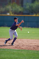 Cory Lewis (12) of Marina High School in Huntington Beach, California during the Baseball Factory All-America Pre-Season Tournament, powered by Under Armour, on January 14, 2018 at Sloan Park Complex in Mesa, Arizona.  (Zachary Lucy/Four Seam Images)