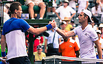 March 29, 2016: Tomas Berdych (CZE), on left, shakes hands with Richard Gasquet (FRA) after winning at the Miami Open being played at Crandon Park Tennis Center in Miami, Key Biscayne, Florida. ©Karla Kinne/Tennisclix/Cal Sports Media