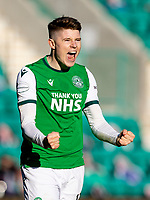 24th April 2021; Easter Road, Edinburgh, Scotland; Scottish Cup fourth round, Hibernian versus Motherwell; Kevin Nisbet of Hibernian celebrates after hibs core second goal by Jackson Irvine of Hibernian in the 80th minute