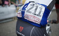 Robert Kiserlovski's (HRV/Trek Factory Racing) faded race number<br /> <br /> 2014 Giro d'Italia<br /> stage 18: Belluno - Rifugio Panarotta (Valsugana), 171km