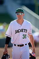 Augusta GreenJackets Preston White (31) before a South Atlantic League game against the Lexington Legends on April 30, 2019 at SRP Park in Augusta, Georgia.  Augusta defeated Lexington 5-1.  (Mike Janes/Four Seam Images)