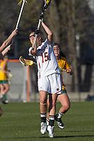 Boston College defender Jessie Coffield (15) at midfield. Boston College defeated University of Vermont, 15-9, at Newton Campus Field, April 4, 2012.