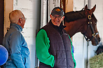 LOUISVILLE, KY - APRIL 30: Trainer Todd Pletcher and WinStar Farm's Eliott Walden share a laugh on shed row after morning workouts at Churchill Downs on April 30, 2018 in Louisville, Kentucky. (Photo by Scott Serio/Eclipse Sportswire/Getty Images)