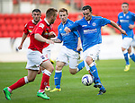 St Johnstone v Ross County....SPFL Development League...19.08.14<br /> Chris Kane is closed down by Jordi Balk<br /> Picture by Graeme Hart.<br /> Copyright Perthshire Picture Agency<br /> Tel: 01738 623350  Mobile: 07990 594431