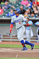 Chattanooga Lookouts left fielder Adam Walker (8) swings at a pitch during a game against the Tennessee Smokies on April 25, 2015 in Kodak, Tennessee. The Smokies defeated the Lookouts 16-10. (Tony Farlow/Four Seam Images)