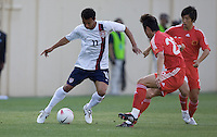 Kamani Hill dribbles. The USA defeated China, 4-1, in an international friendly at Spartan Stadium, San Jose, CA on June 2, 2007.