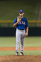 AZL Rangers relief pitcher Erne Valdes (33) looks in for the sign during an Arizona League playoff game against the AZL Cubs 1 at Sloan Park on August 29, 2018 in Mesa, Arizona. The AZL Cubs 1 defeated the AZL Rangers 8-7. (Zachary Lucy/Four Seam Images)