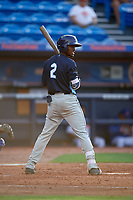 Charlotte Stone Crabs shortstop Lucius Fox (2) at bat during the first game of a doubleheader against the St. Lucie Mets on April 24, 2018 at First Data Field in Port St. Lucie, Florida.  St. Lucie defeated Charlotte 5-3.  (Mike Janes/Four Seam Images)