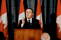 1991 FILE PHOTO - ARCHIVES -<br /> <br /> Blunt messages, Prime Minister Brian Mulroney told Quebecers they can't have it both ways in Toronto speech Tuesday and amplified the warning the next day in Quebec city.<br /> <br /> 1991<br /> <br /> <br /> PHOTO : Boris Spremo - Toronto Star Archives - AQP