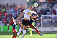 Houston, TX - Sunday Oct. 09, 2016: Abby Erceg, Crystal Dunn during a National Women's Soccer League (NWSL) Championship match between the Washington Spirit and the Western New York Flash at BBVA Compass Stadium.