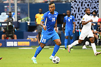 KANSASCITY, KS - JULY 11: Stephane Abaul #20 of Martinique with the ball during a game between Canada and Martinique at Children's Mercy Park on July 11, 2021 in KansasCity, Kansas.