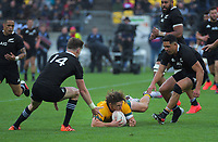 Australia's Michael Hooper snares loose ball during the Bledisloe Cup rugby union match between the New Zealand All Blacks and Australia Wallabies at Sky Stadium in Wellington, New Zealand on Sunday, 11 October 2020. Photo: Dave Lintott / lintottphoto.co.nz