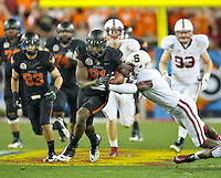 STANFORD, CA - January 2, 2012: Oklahoma State wide receiver Justin Blackmon (81) against Stanford at the Fiesta Bowl at University of Phoenix Stadium in Phoenix, AZ. Final score Oklahoma State wins 41-38.