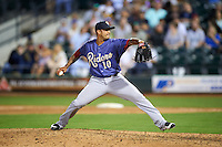 Frisco RoughRiders relief pitcher Matt Bush (10) delivers a pitch during a game against the Corpus Christi Hooks on April 23, 2016 at Whataburger Field in Corpus Christi, Texas.  Corpus Christi defeated Frisco 3-2.  (Mike Janes/Four Seam Images)