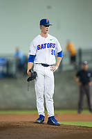 Florida Gators relief pitcher Brady Singer (51) in action against the Wake Forest Demon Deacons in Game One of the Gainesville Super Regional of the 2017 College World Series at Alfred McKethan Stadium at Perry Field on June 10, 2017 in Gainesville, Florida.  The Gators defeated the Demon Deacons 2-1 in 11 innings.  (Brian Westerholt/Four Seam Images)