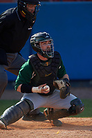 Farmingdale Rams catcher Kenneth Johntry (18) during a game against the Union Dutchmen on February 21, 2016 at Chain of Lakes Stadium in Winter Haven, Florida.  Farmingdale defeated Union 17-5.  (Mike Janes/Four Seam Images)