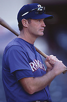 Texas Rangers coach Jerry Narron during a 2001 season MLB game at Angel Stadium in Anaheim, California. (Larry Goren/Four Seam Images)